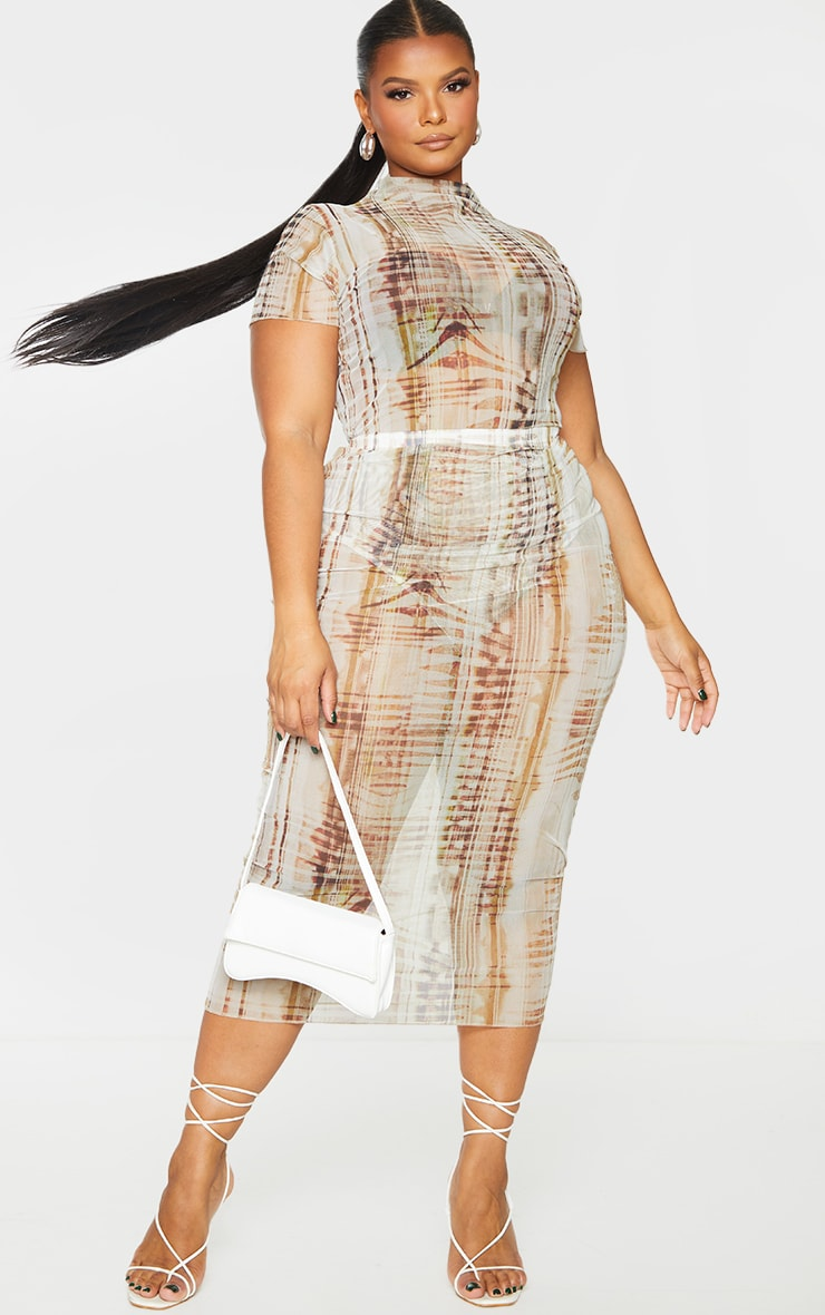 Plus Beige Textured Print Mesh Bodycon Midi Skirt 1