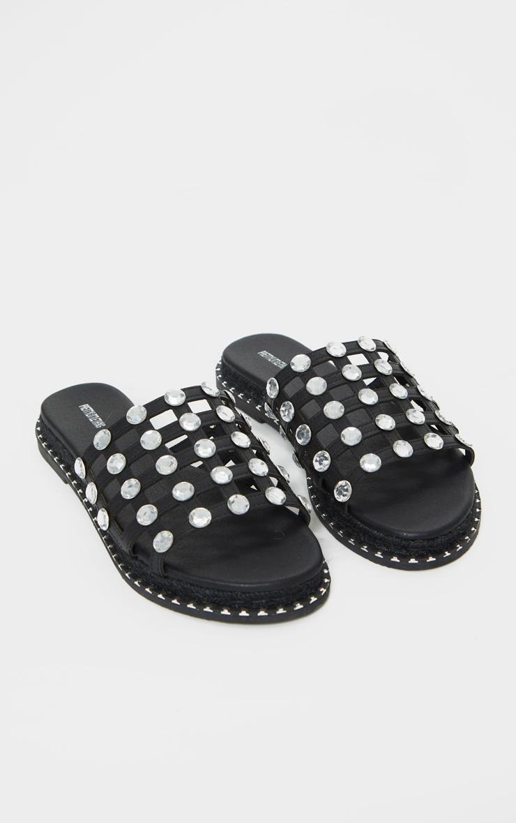 Black Diamante Studded Sliders 3