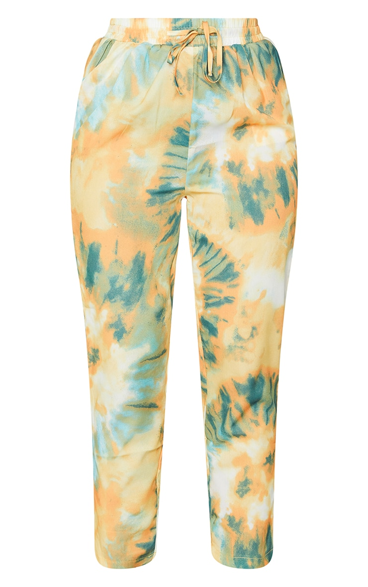 Orange Tie Dye Print Cigarette Pants 5