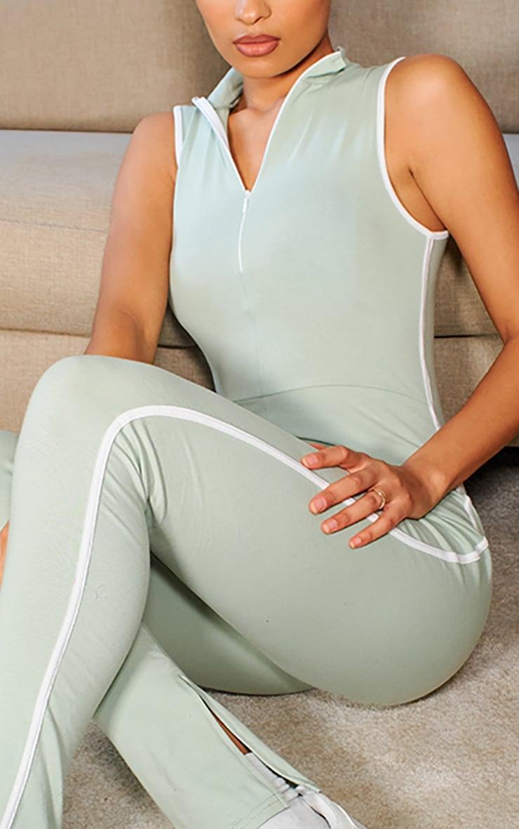 Sage Green Zip Detail Sports Stripe Sleeveless Jumpsuit 4