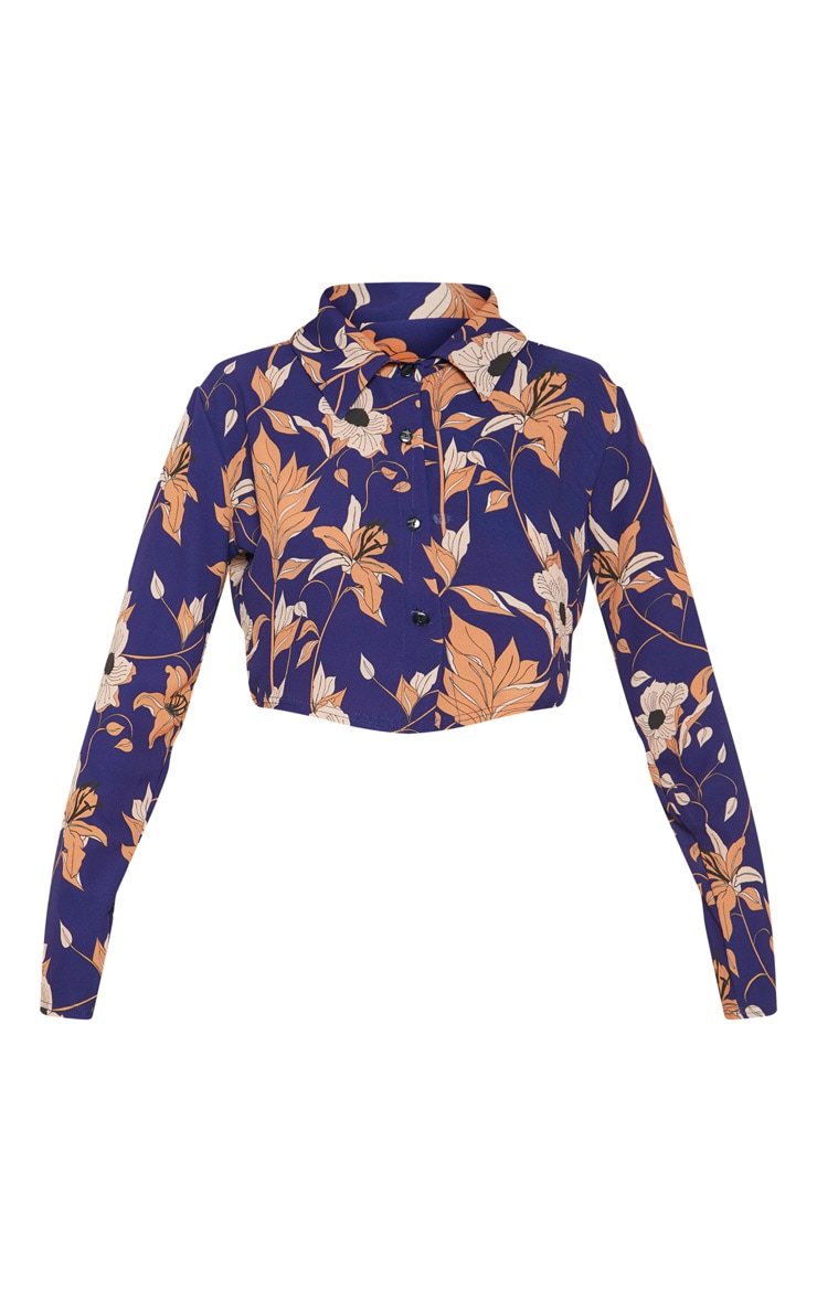 Navy Floral Print Long Sleeve Crop Shirt 3