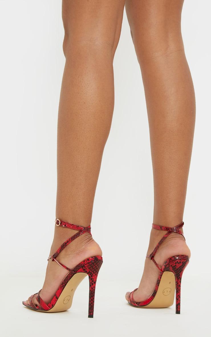 Sandales pointues rouge imprimé serpent à détail noeud 2