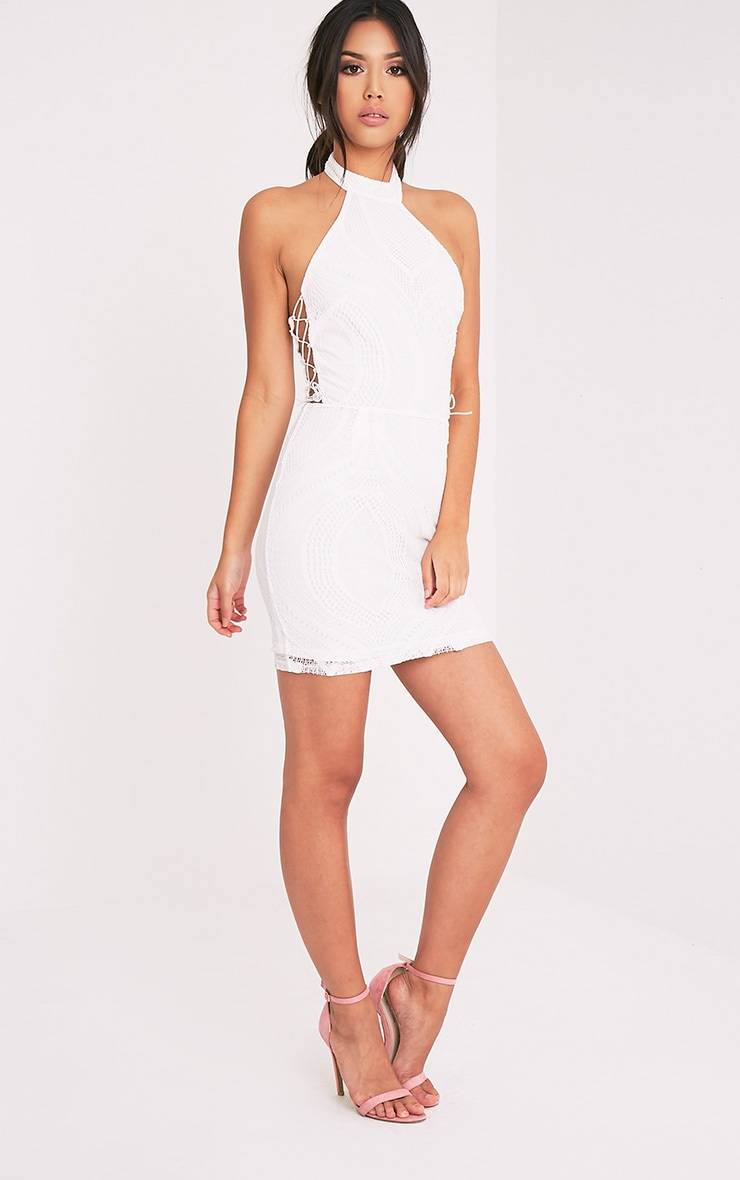 Kaitlan White High Neck Lace Up Side Bodycon Dress 5