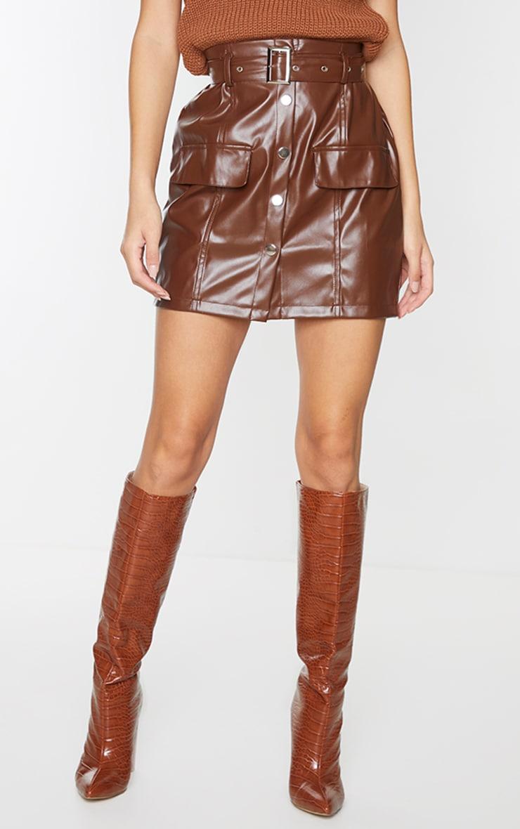 Chocolate Faux Leather Button Through Mini Skirt 2