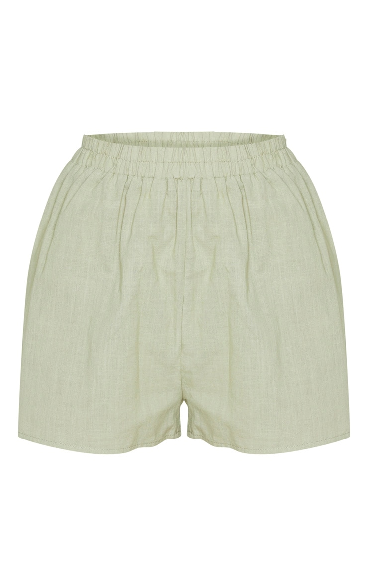 Pale Khaki Linen Look Elasticated Beach Shorts 7