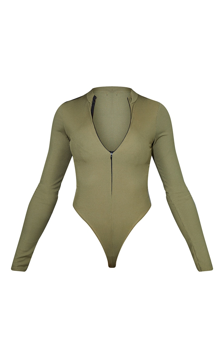 Khaki Rib Zip Up Long Sleeve Bodysuit 5