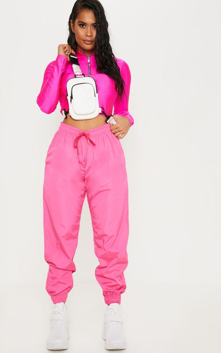 Hot Pink Drawstring Waist Shell Pants 1