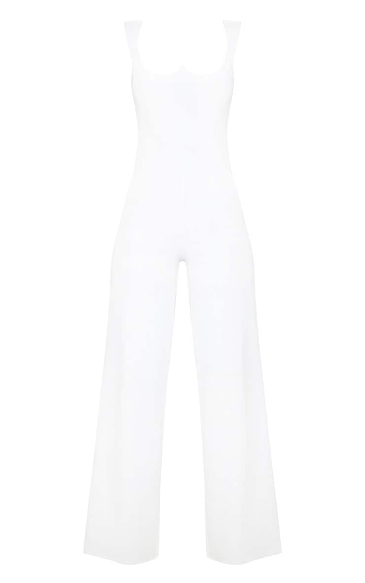 White Structured Bodice Wide Leg Jumpsuit 3