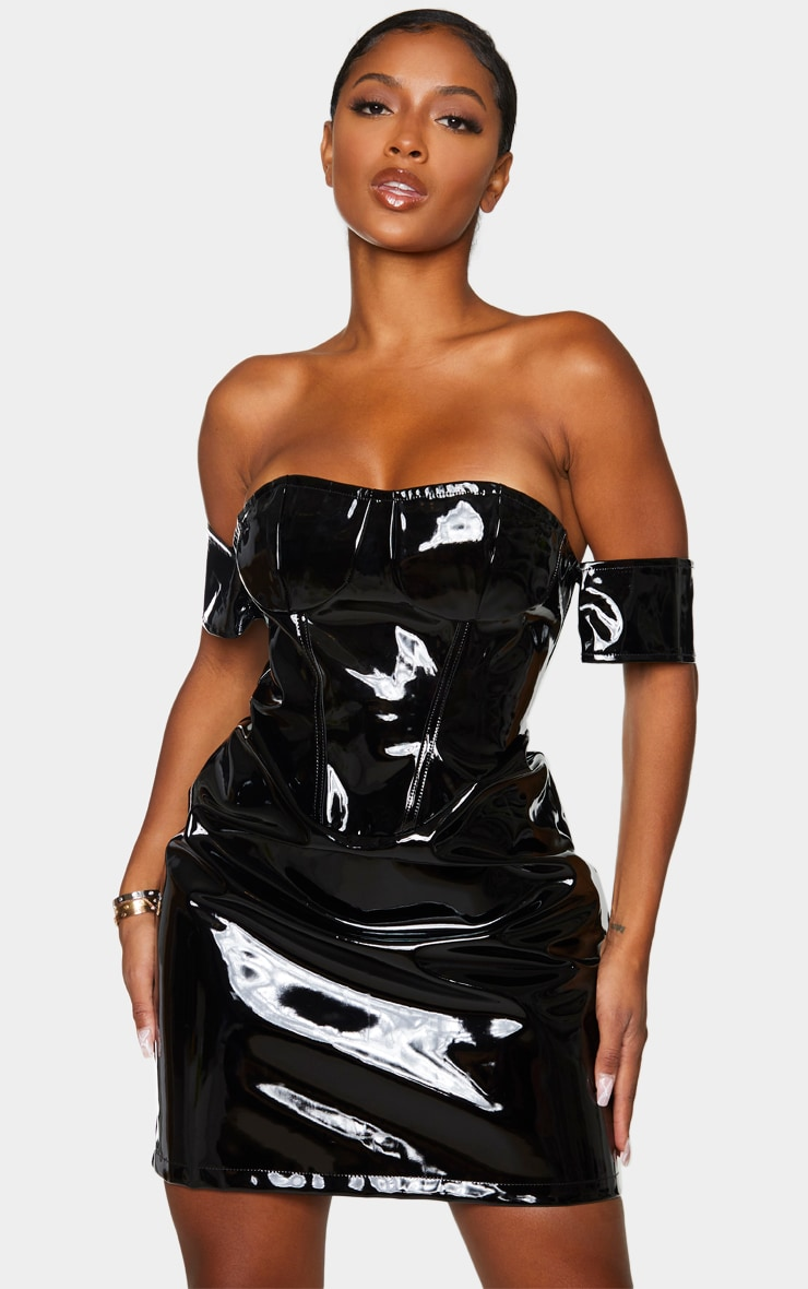 Shape Black Vinyl Off The Shoulder Corset Detail Bodycon Dress 1