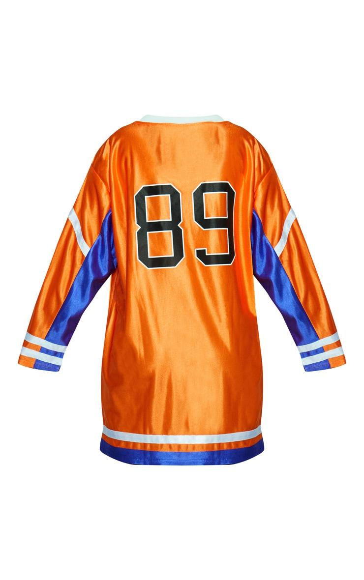 KARL KANI Orange Baseball Dress 5