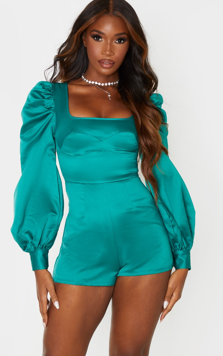 Emerald Green Bonded Satin Bust Detail Playsuit 1