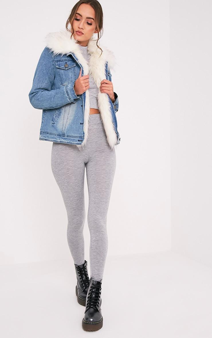Yalena Denim Faux Fur Lined Jacket 5