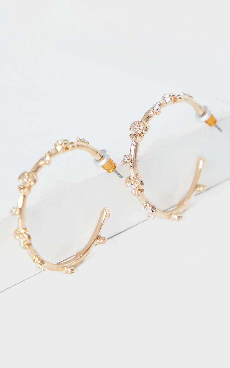 Gold Mini Rose And Diamante Small Hoop Earrings 2