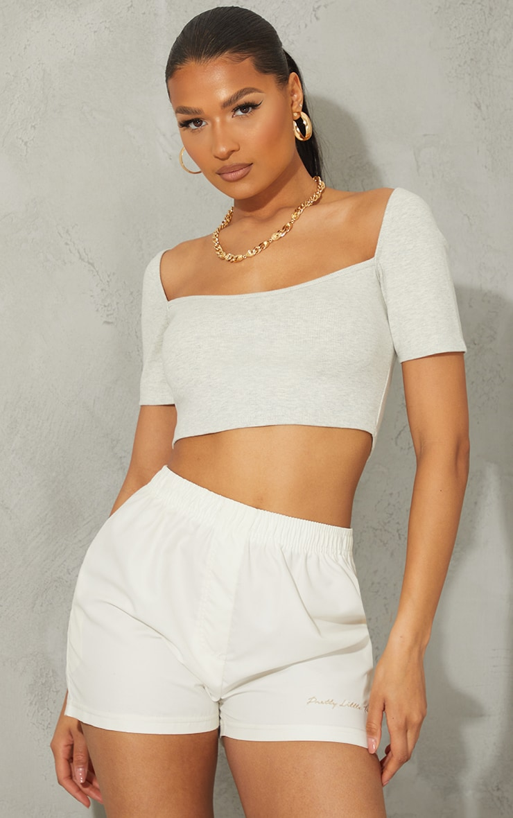 Oatmeal Rib Square Neck Bust Stitch Detail Crop Top 1