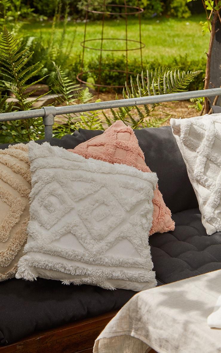 Cream Diamond Repeat Tufted Filled Cushion 1