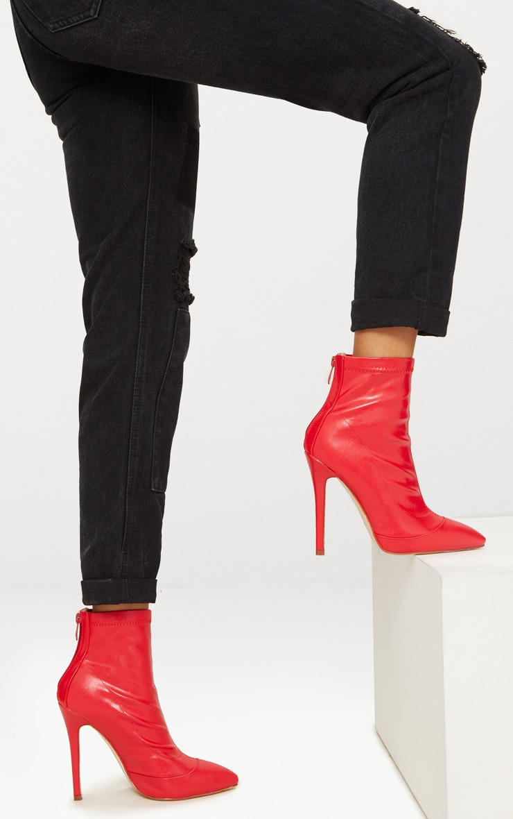 Red PU Ankle Sock Boot