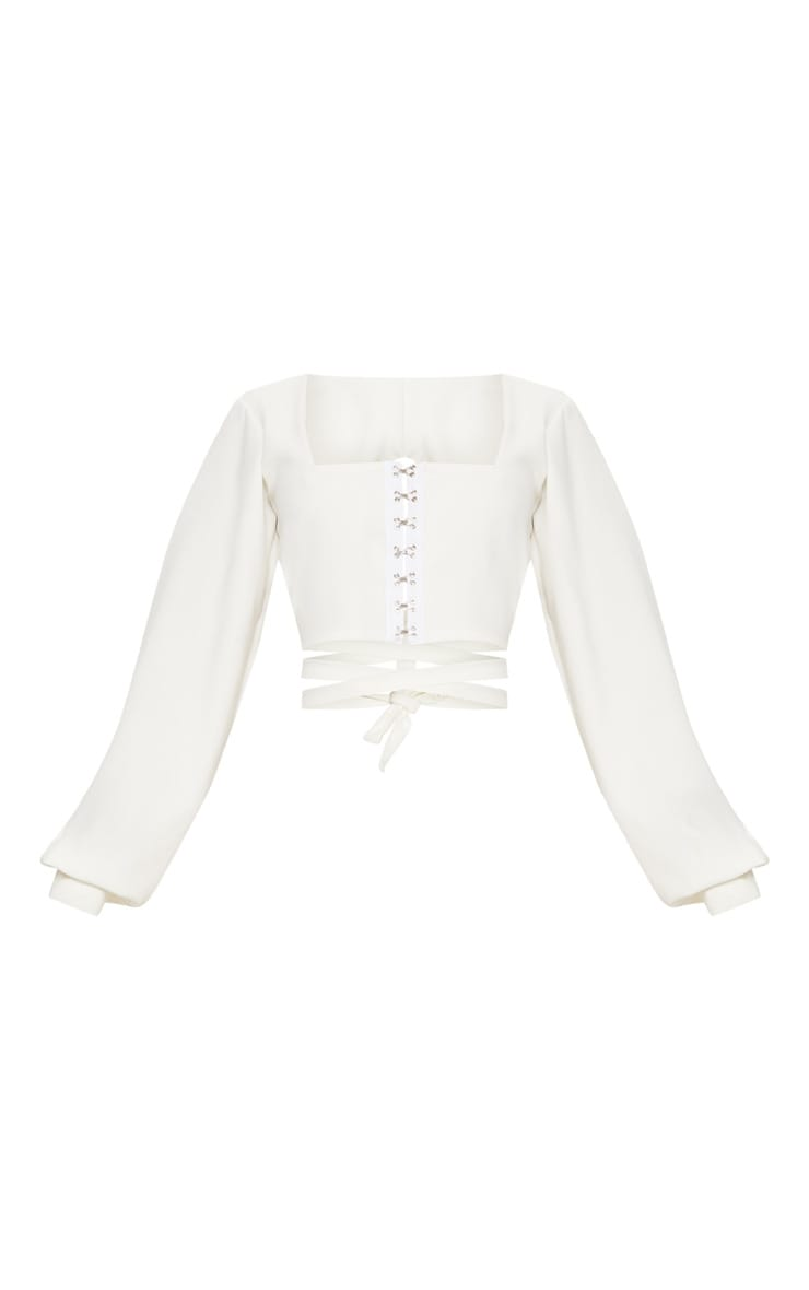 White Hook And Eye Jersey Puff Sleeve Tie Back Crop Top 3
