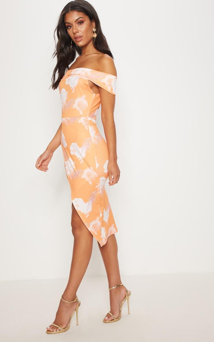 Tangerine Floral Print Bardot Bow Detail Wrap Midi Dress 4