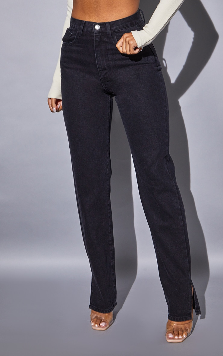 Recycled Washed Black Basic Split Hem Jean 2