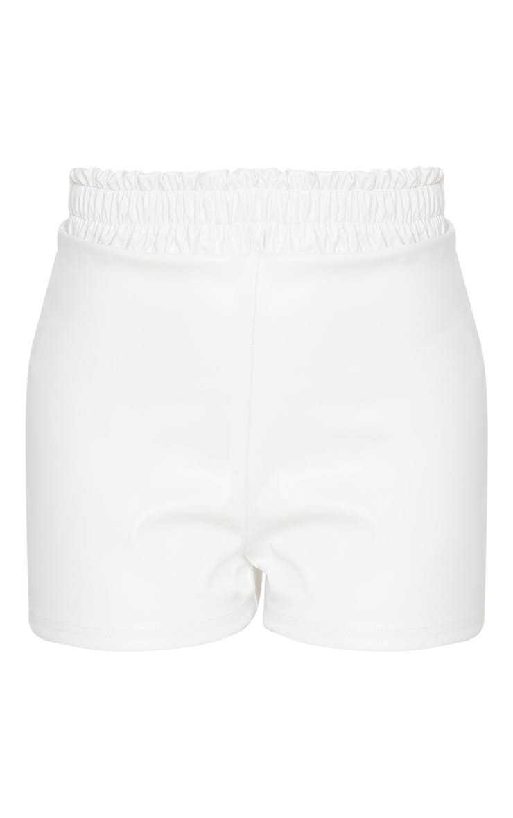Petite Cream Ruched Waist PU Short 3