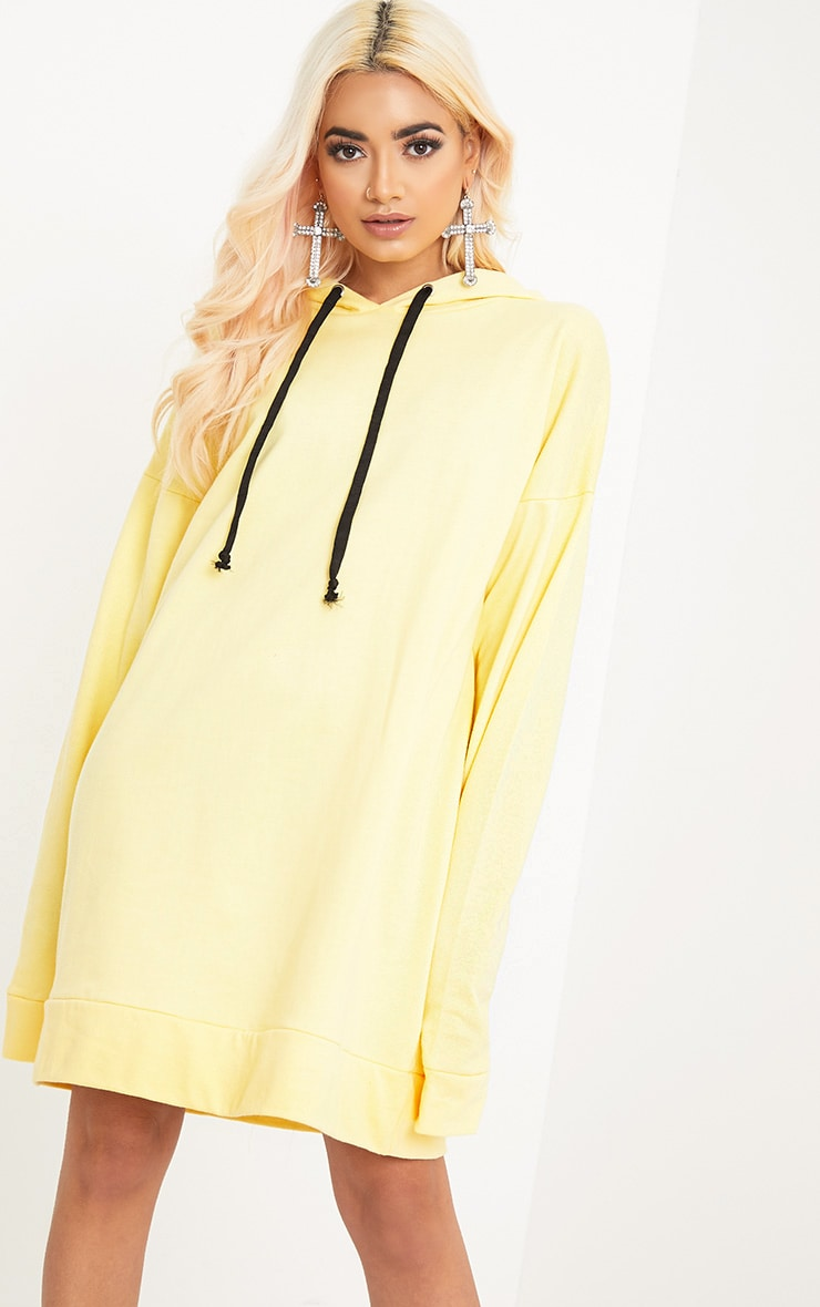 Anuliar Yellow Hooded Jumper Dress with Contrast Ties 1