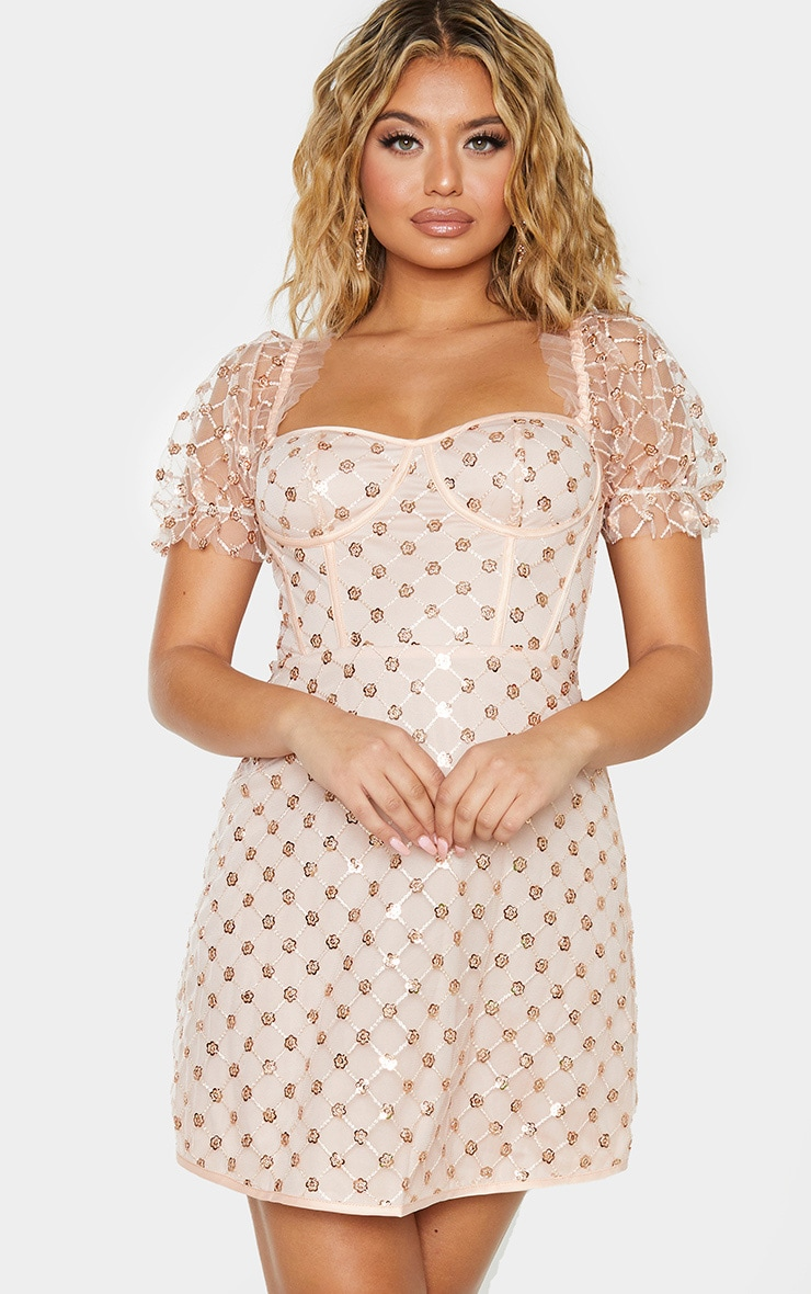 Rose Gold Sequin Detail Puff Sleeve Cup Detail Shift Dress 1