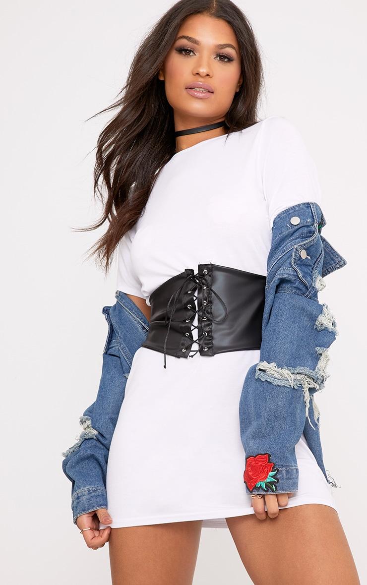 Reanna White Corset T Shirt Dress 2