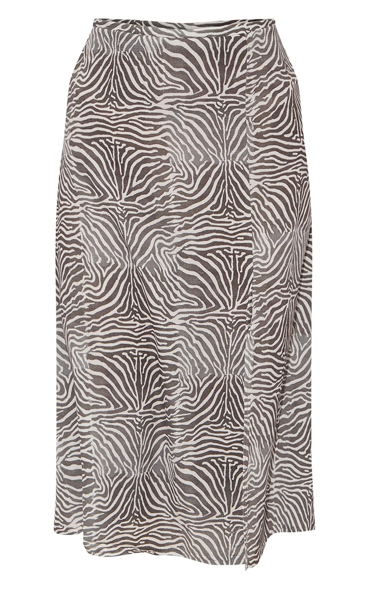 Brown Zebra Floaty Midi Skirt 5
