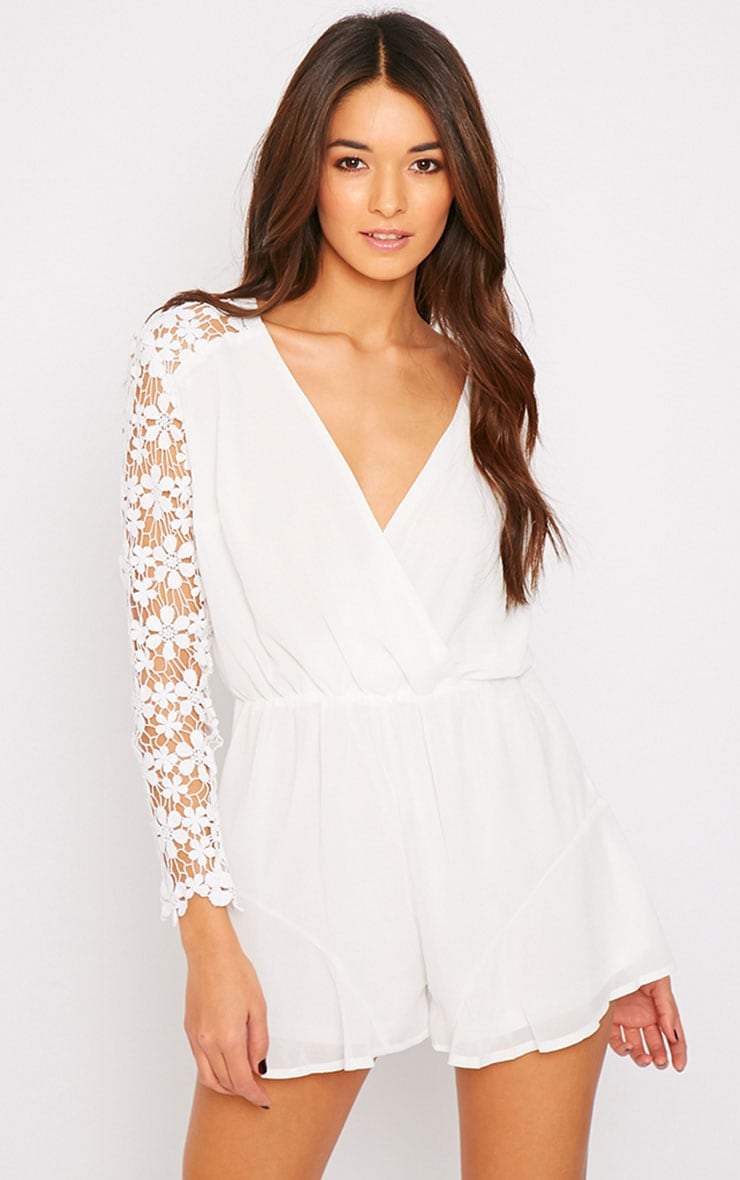 Elaine White Crochet Sleeve Wrap Over Playsuit  1