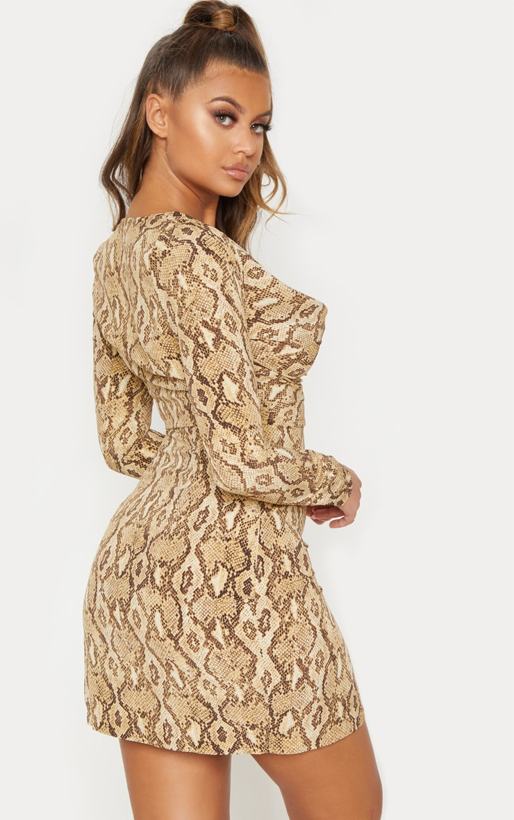 Beige Snake Print Cowl Neck Bodycon Dress 3