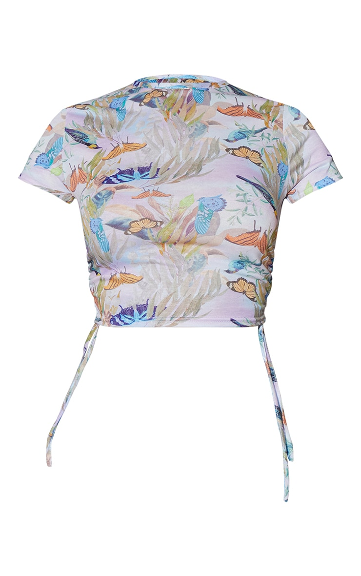 Lilac Butterfly Printed Ruched Short Sleeve Crop Top 5