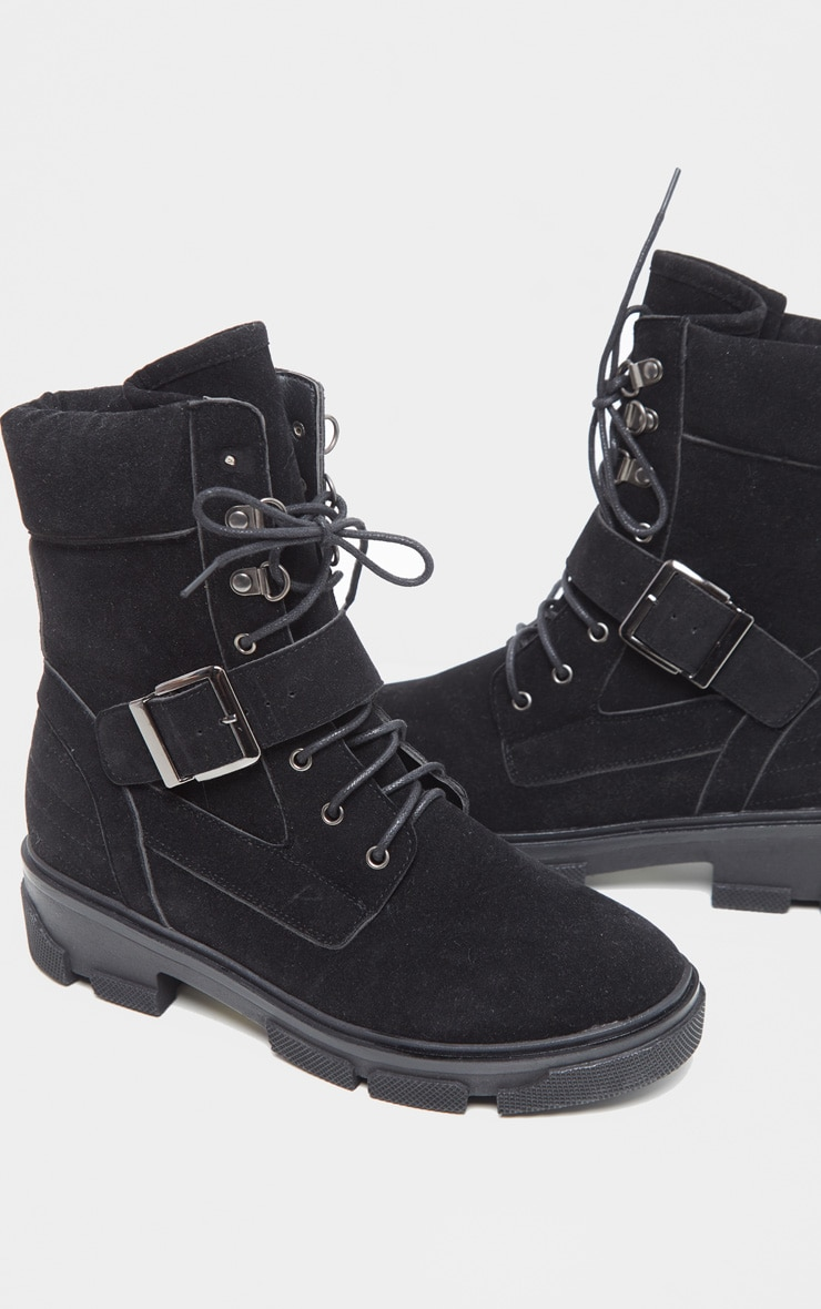Black Lace Up Buckle Strap Ankle Boot 3