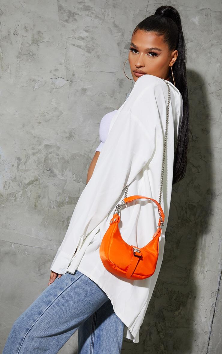 Orange Nylon Rounded Front Silver Buckle Shoulder Bag 1