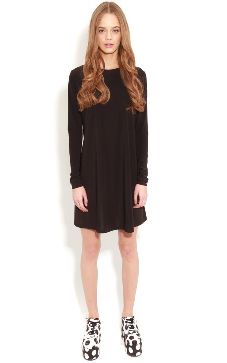 Ellen Black Long Sleeved Swing Dress  3