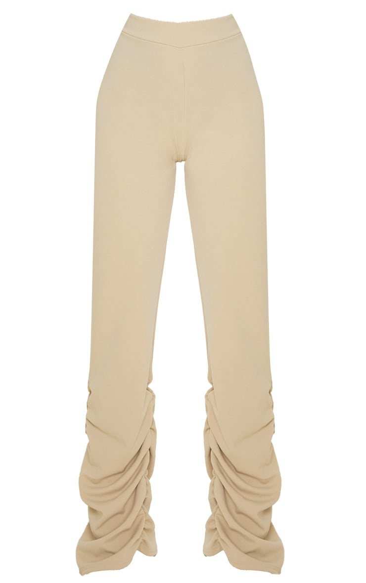 Petite Camel Ruched Hem Crepe Pants 3