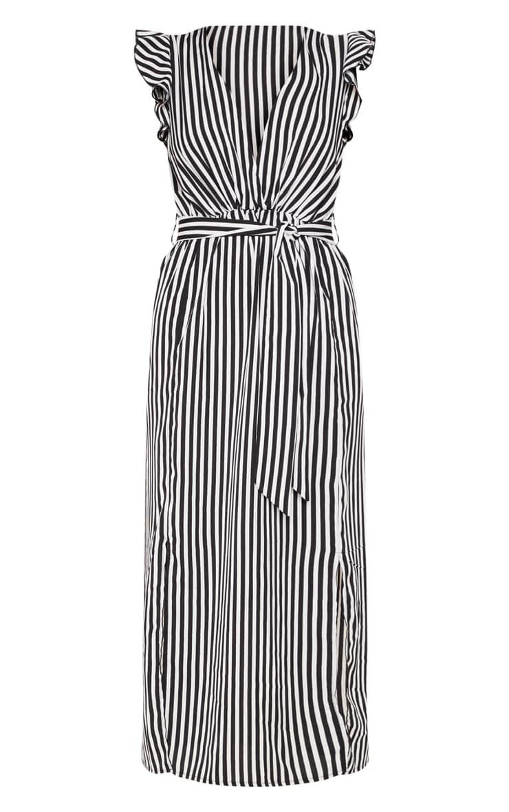 Monochrome Stripe Satin Frill Shoulder Split Midi Dress 3