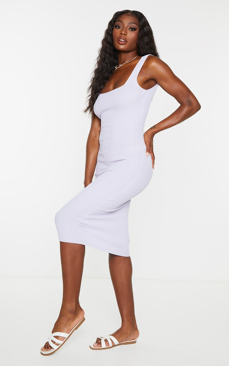 Lilac Square Neck Low Back Knitted Midi Dress 3