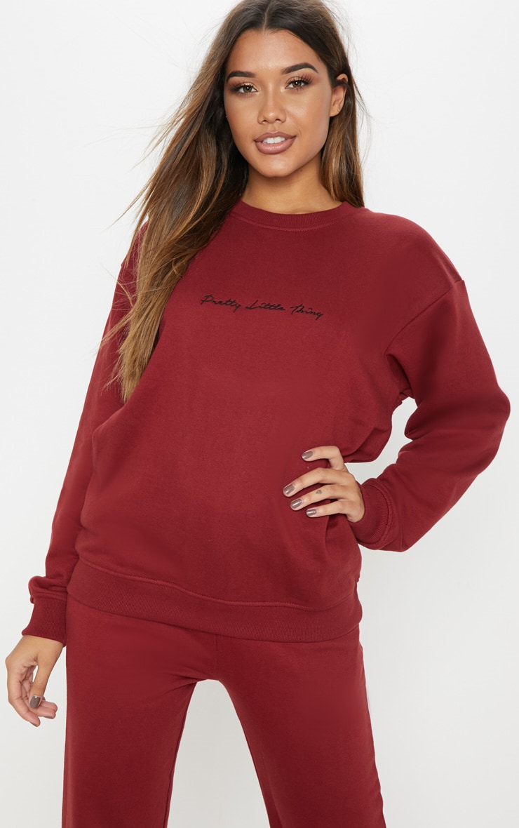 PRETTYLITTLETHING Burgundy Embroidered Oversized Sweater 1
