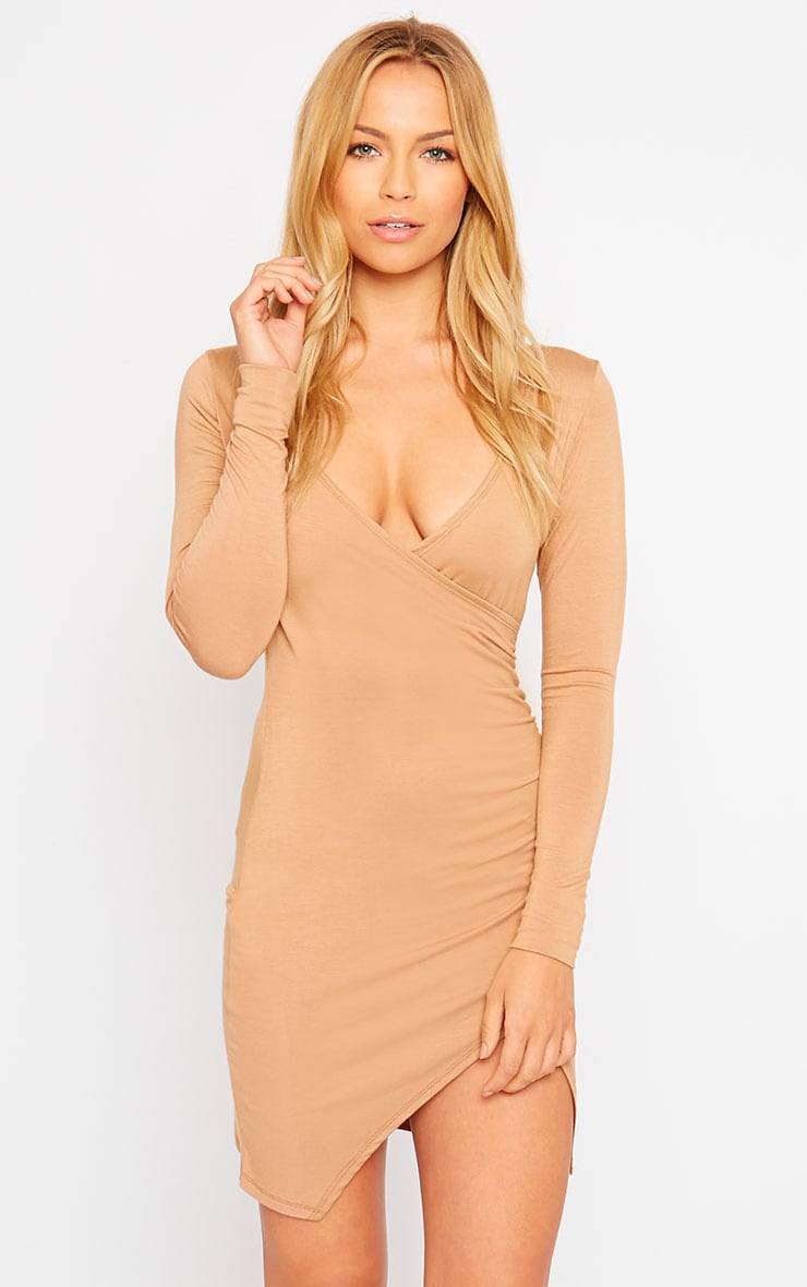 Kendi Camel Wrap Mini Dress 4