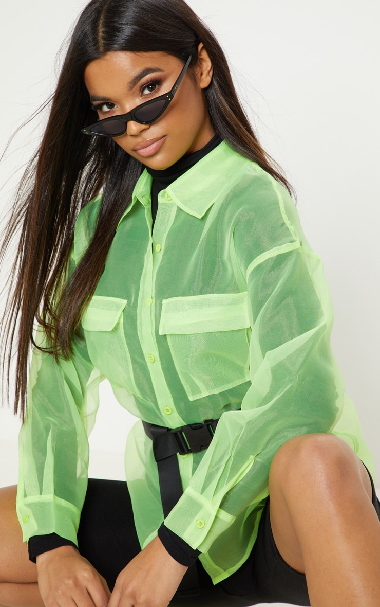 Lime Organza Pocket Detail Oversized Shirt 5