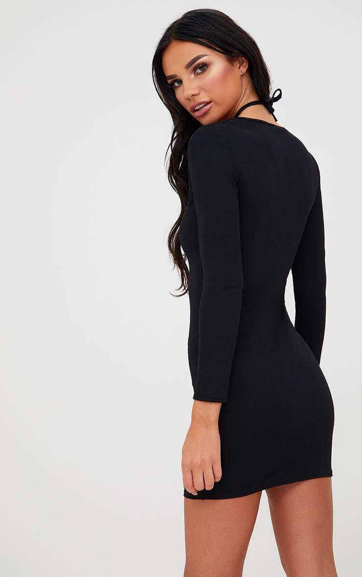 Black Tie Neck Plunge Bodycon Dress 2