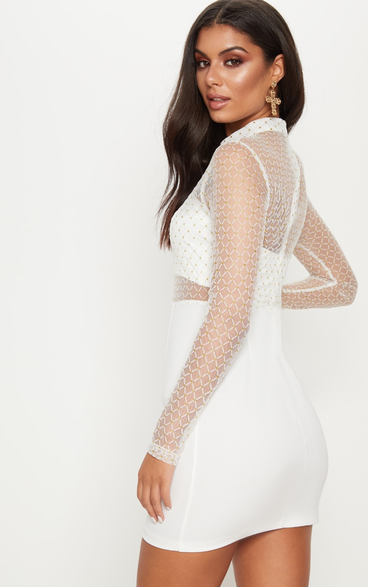 White Criss Cross Mesh Top Bodycon Dress 2