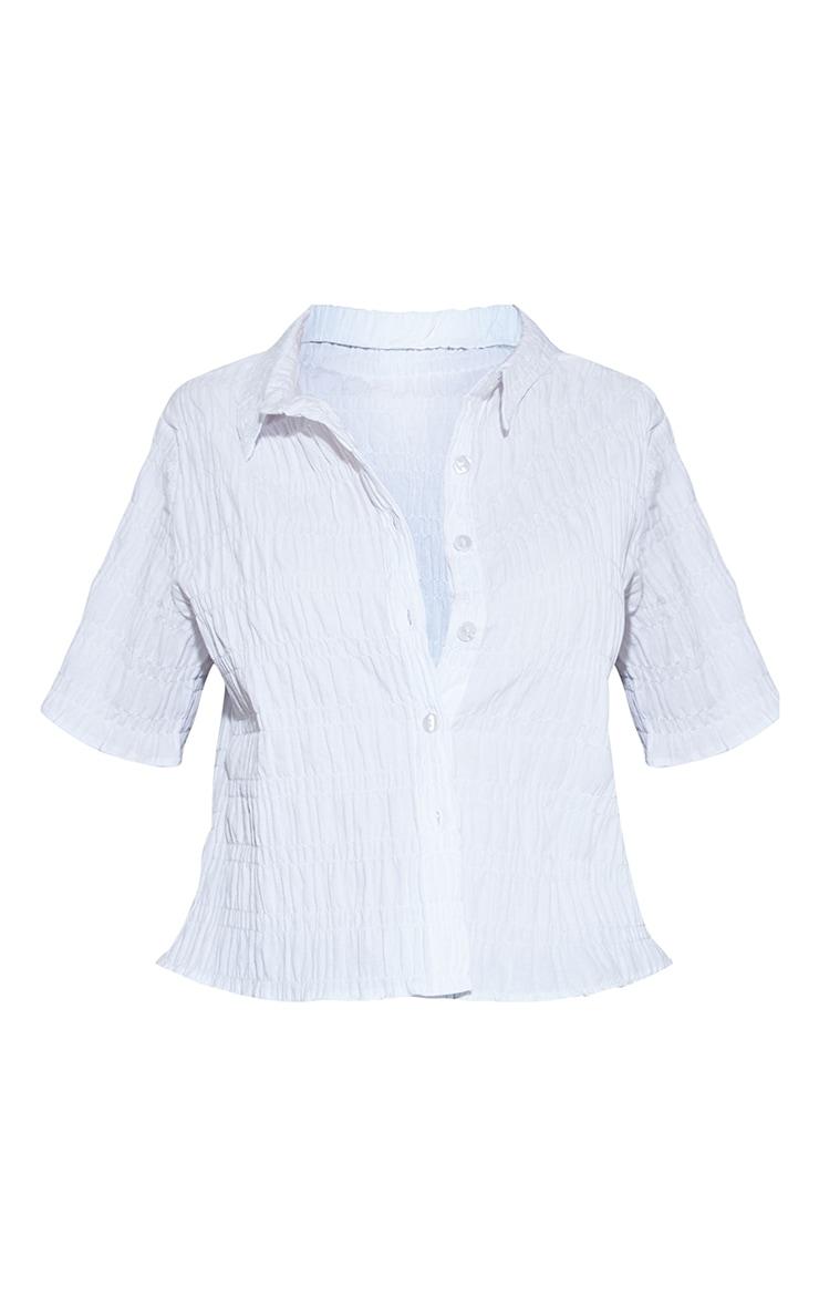 White Shirred Short Sleeve Shirt 5