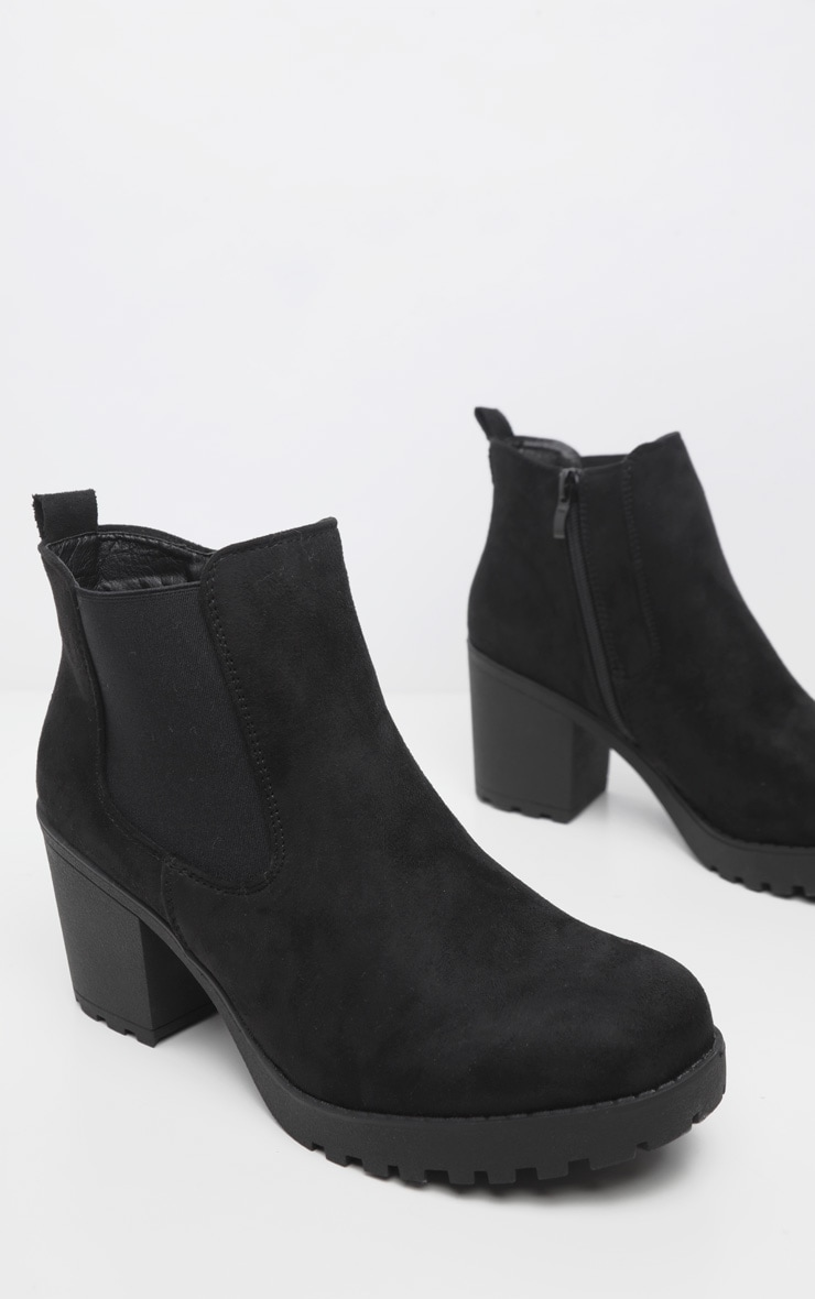 Black Faux Suede Cleated Chelsea Ankle Boots 3