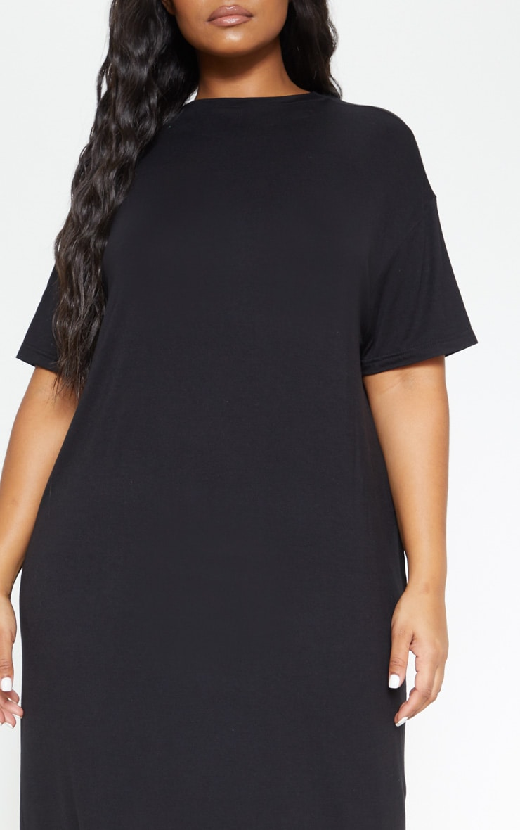 Plus Black Oversized Boxy Midi T Shirt Dress 5