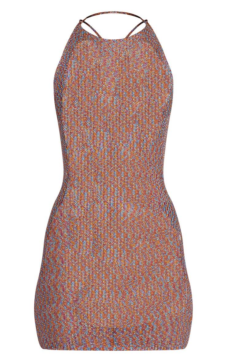 Charlay Multi Metallic Knit Halterneck Mini Dress 3