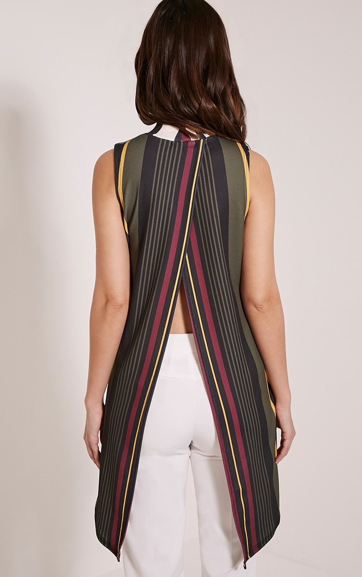 Jasmine Khaki Stripe Open Back Top 2