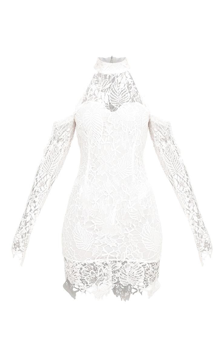 White High Neck Cold Shoulder Lace Bodycon Dress 3
