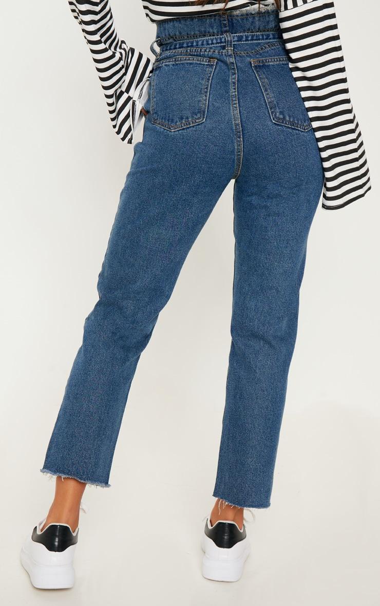 Dark Wash Paperbag Jeans  4