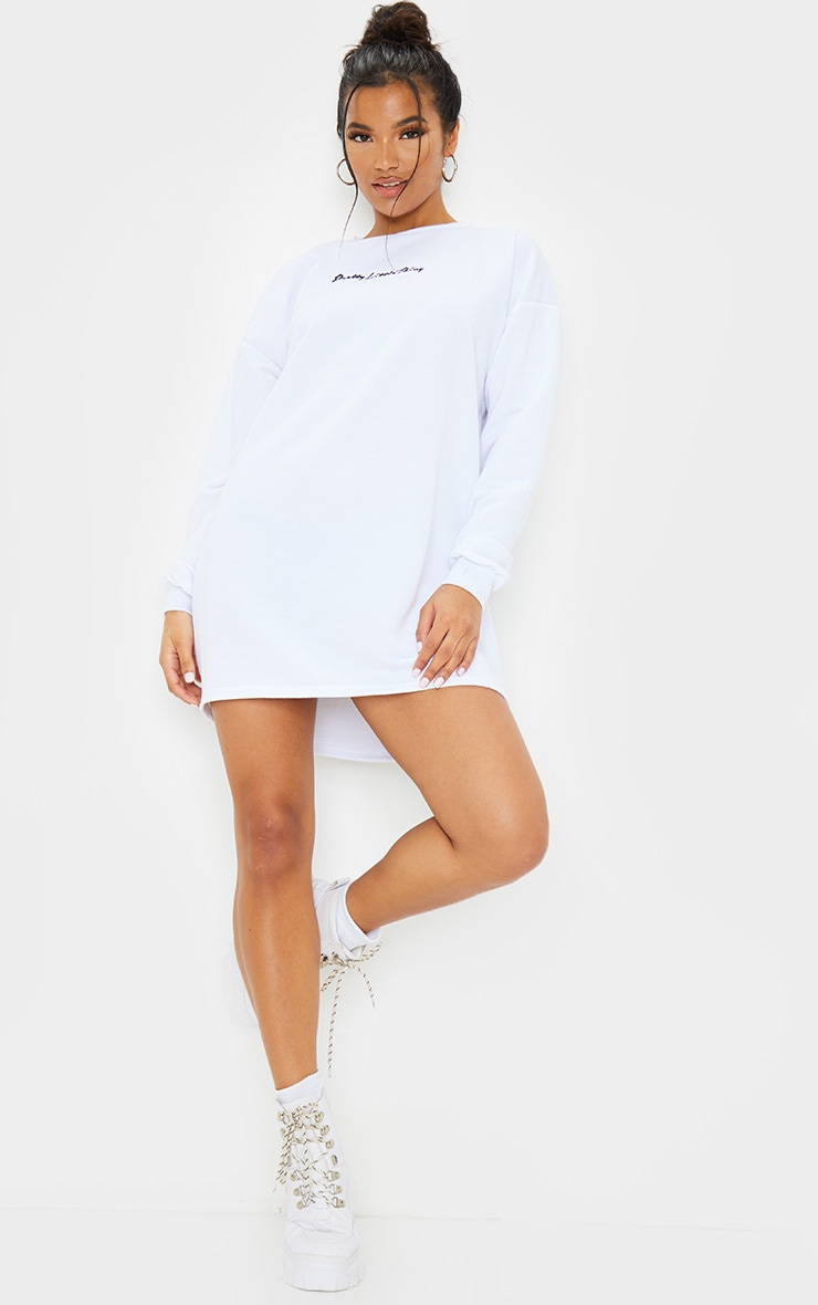 PRETTYLITTLETHING White Embroidered Sweater Dress 3